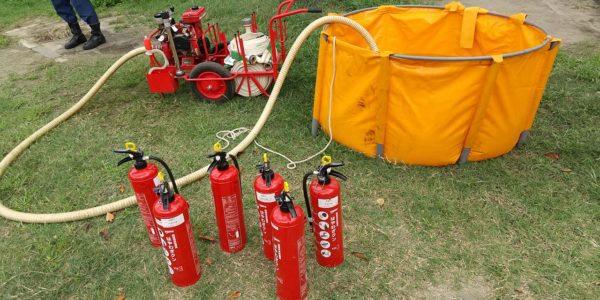 初期消火の防災訓練